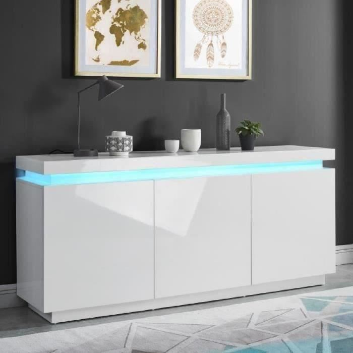 ODYSSEE Buffet bas LED contemporain blanc laqué brillant  - Cdiscount