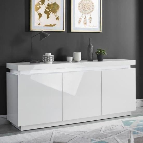 ODYSSEE Buffet bas LED contemporain blanc laqué brillant