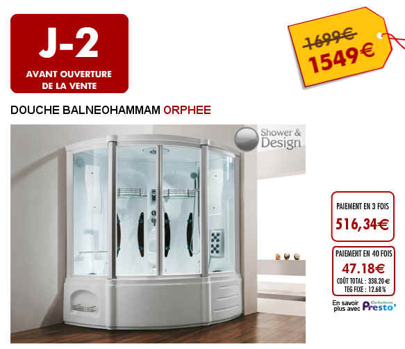 vente flash douche baignoire baln o hammam orphee prix 1 599 euros vente unique ventes pas. Black Bedroom Furniture Sets. Home Design Ideas