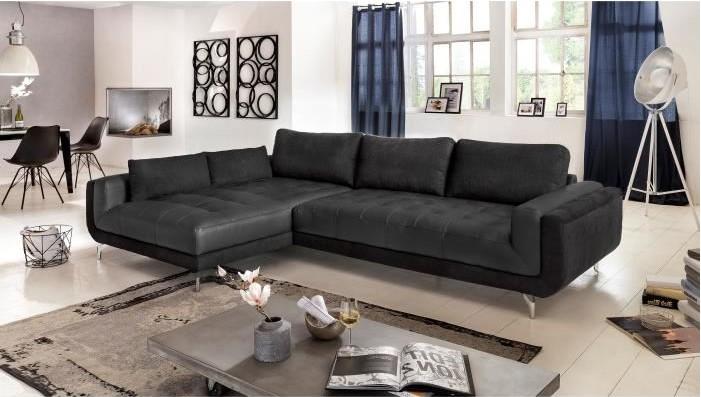 PABLO Canapé d'angle gauche fixe cuir et tissu 5 places Noir Contemporain - Soldes Canapé Cdiscount