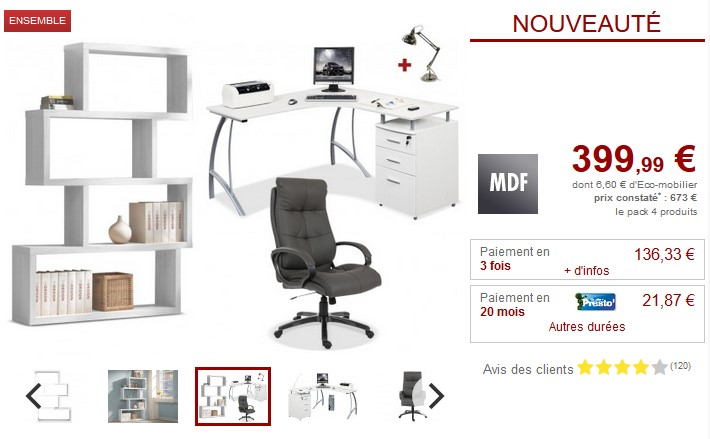 Vente unique top promo vente unique meubles et deco pas for Bureau zacharie