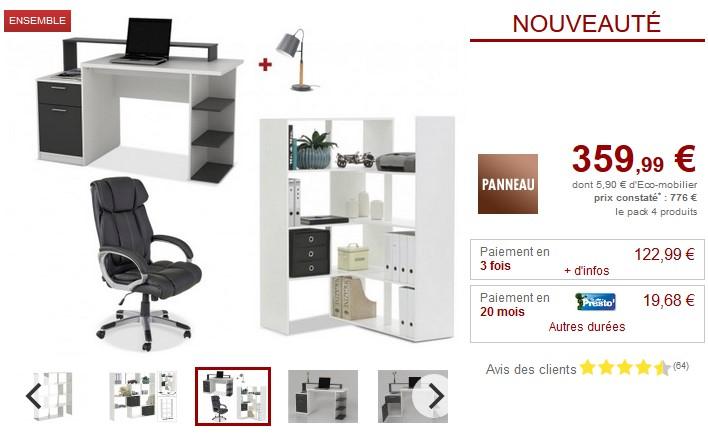 Pack Bureau ZACHARIE 4 produits Bureau, Fauteuil, Etagère et Lampe - Vente Unique
