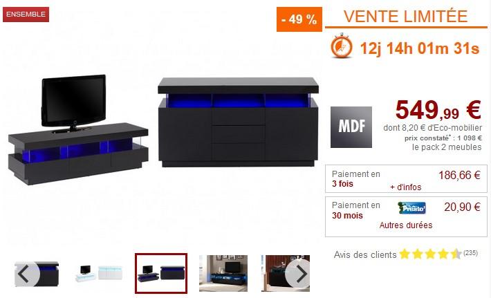 Pack FABIO Buffet + Meuble TV avec LEDs Blanc ou Noir - Vente Unique