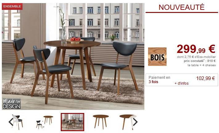 Ensemble table + 4 chaises LISETTE Hévéa et Simili noir - Vente Unique