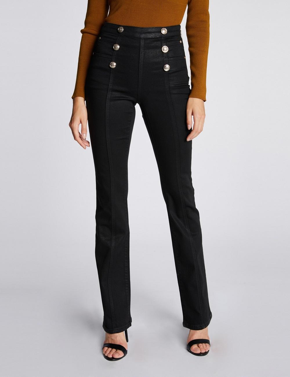 Pantalon à ponts en tissu enduit Noir Morgan