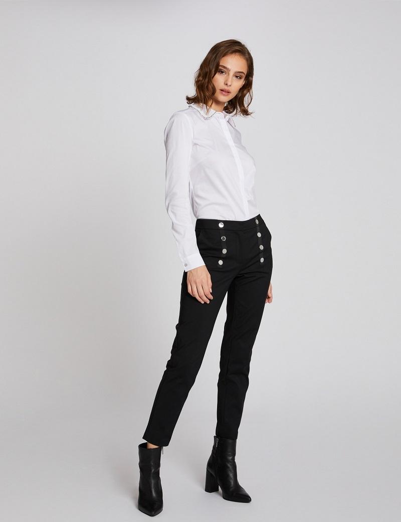 Pantalon droit taille basse effet pont Noir Morgan
