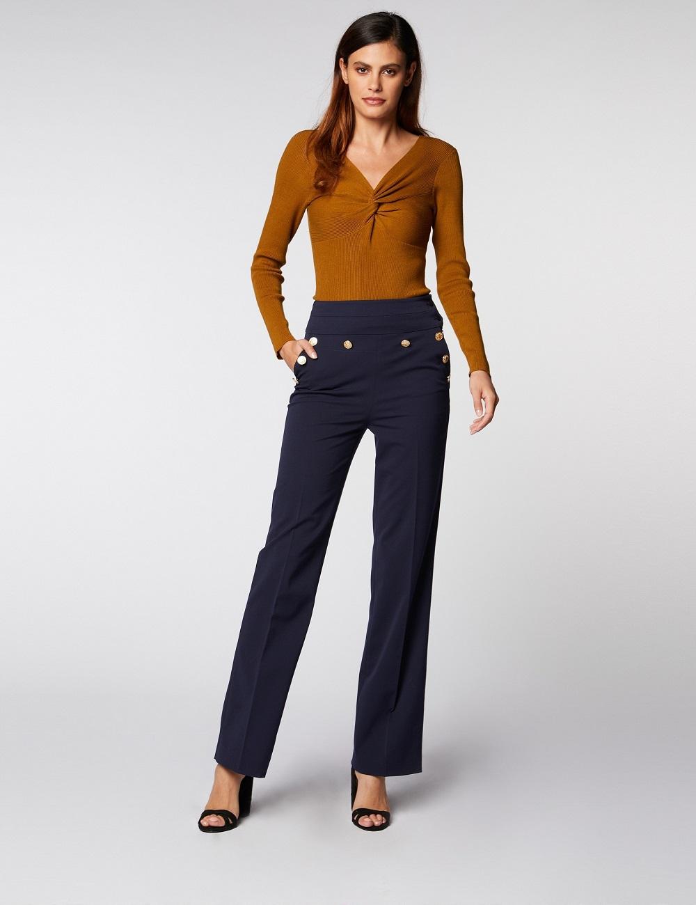 Pantalon taille haute évasé à boutons Morgan