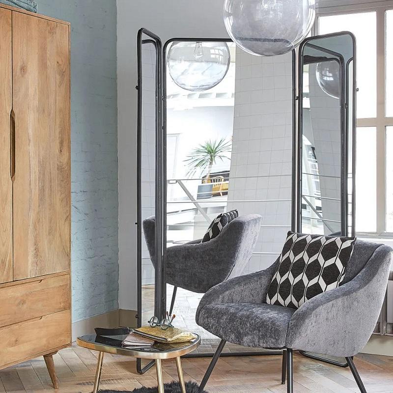 Paravent Dawson en miroir et métal noir - Maisons du Monde