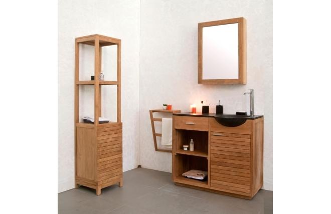 Miroir de salle de bain arika en teck design miroir Meuble haut salle de bain pas cher