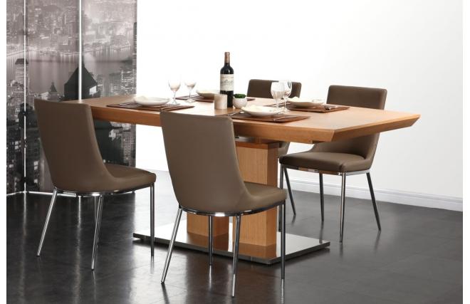 Lot de 2 chaises design polyur thane ira taupe et acier - Lot chaise design pas cher ...