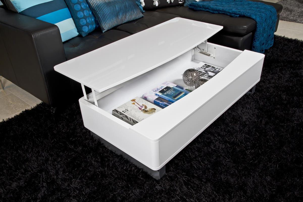 soldes table basse miliboo table basse design juno relevable blanc brillant ventes pas. Black Bedroom Furniture Sets. Home Design Ideas