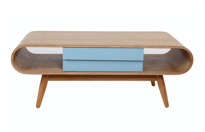 Table basse scandinave bois naturel bleu baltik table for Table basse industrielle pas cher