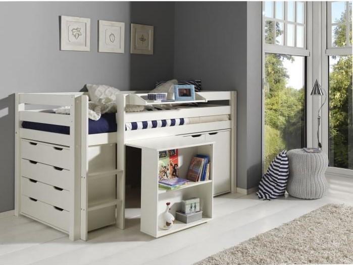 pino lit mezzanine 90x200 cm bureau 2 commodes lit mezzanine cdiscount soldes cdiscount. Black Bedroom Furniture Sets. Home Design Ideas