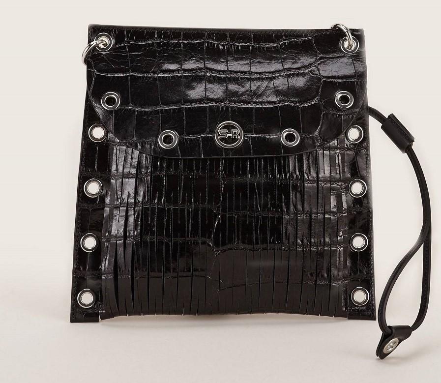Sonia Rykiel Pochette détails oeillets en cuir noir