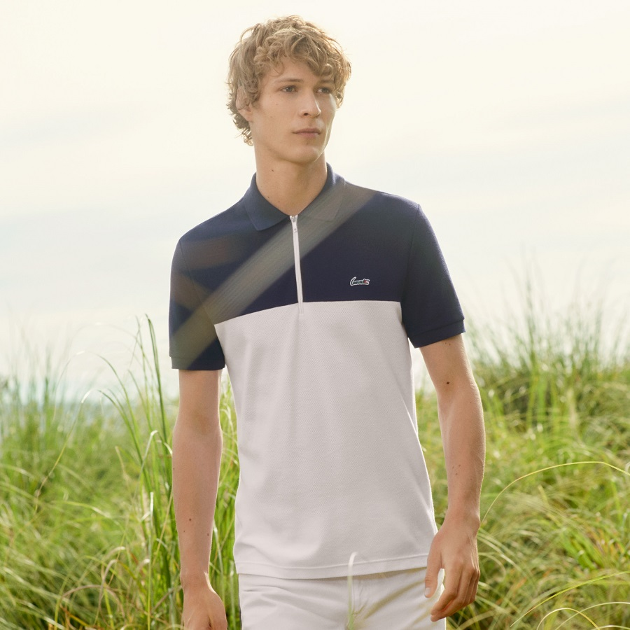 Polo slim fit Lacoste en coton gaufré nid d'abeille color block