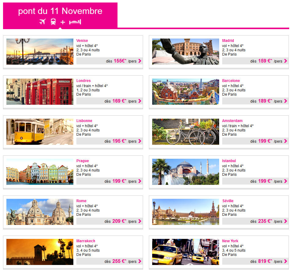 Ponts Novembre Lastminute