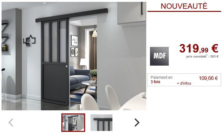 porte coulissante atelier noire en bois aperto pas cher porte coulissante vente unique. Black Bedroom Furniture Sets. Home Design Ideas