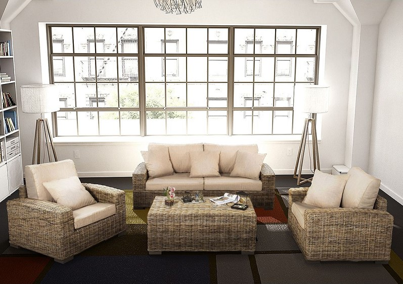 Salon Trevise Rotin beige / gris Rotin Design