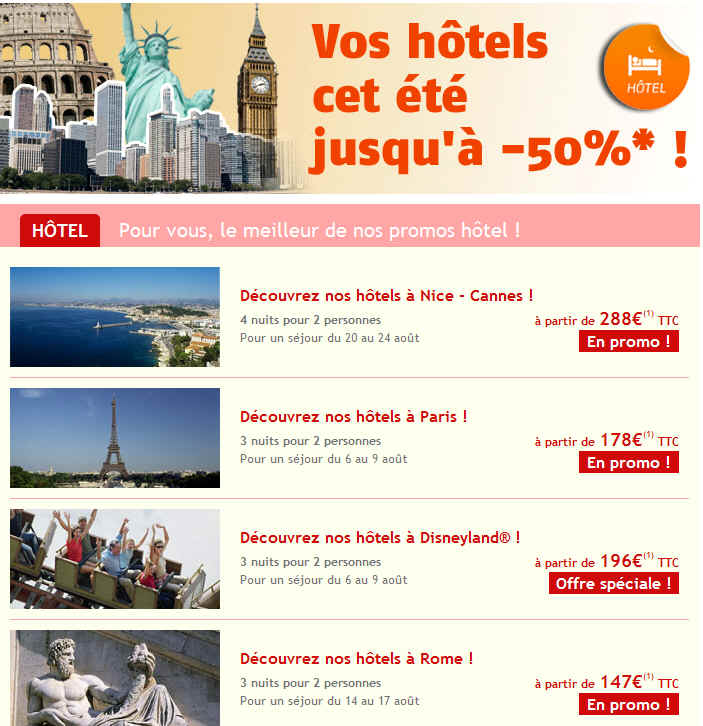 Promos Hotel Voyages Sncf