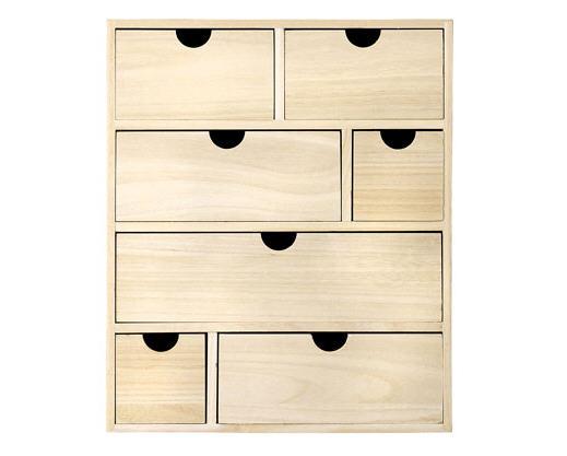 rangement en bois naturel vernis 7 tiroirs bloomingville. Black Bedroom Furniture Sets. Home Design Ideas