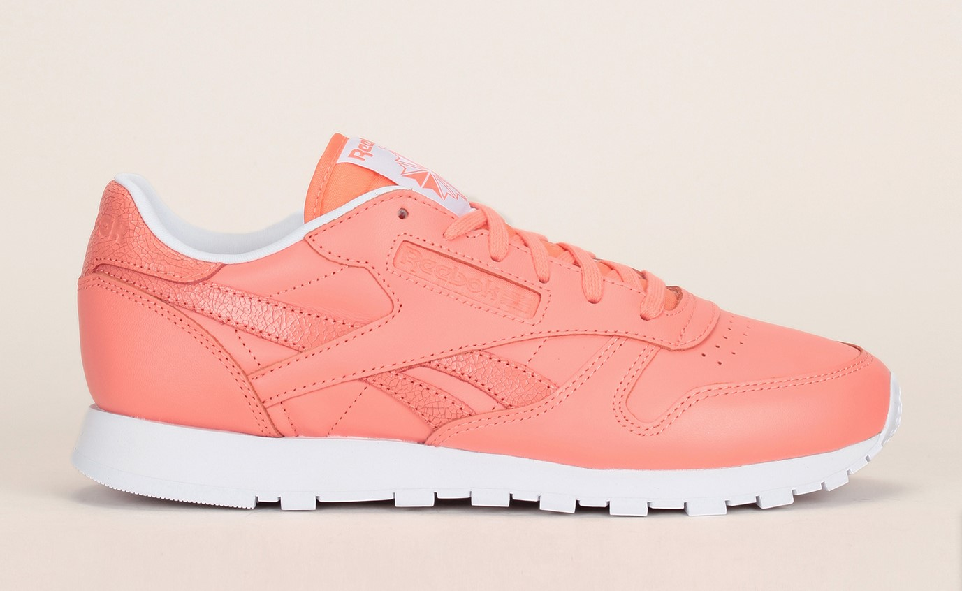 Baskets cuir corail Classic Leather Seasonal Reebok, Baskets Femme Monshowroom