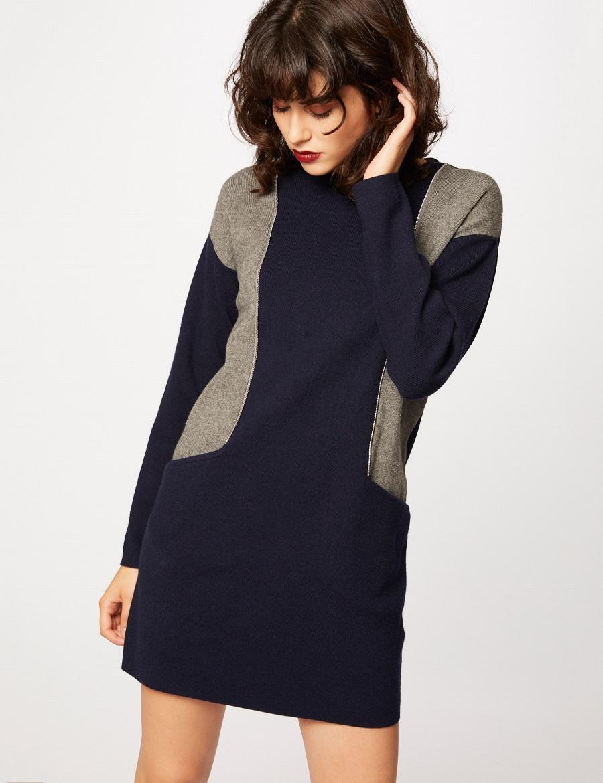Robe maille droite bicolore détails zips Morgan