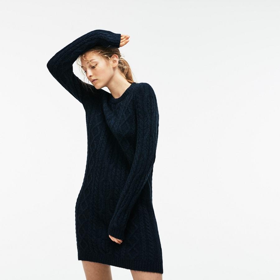 Robe pull Lacoste en alpaga et laine torsadés unis - Robe Femme ... afeaffe2764