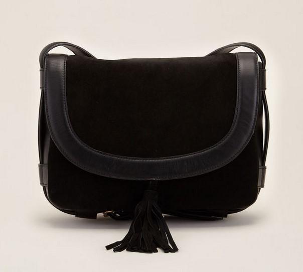 70/30 Alessia Sac bandoulière noir en cuir lisse et cuir velours - Sacs Monshowroom