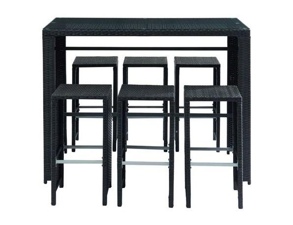 Salon de jardin CANCUN en résine tressée noire avec table et 6 chaises hautes