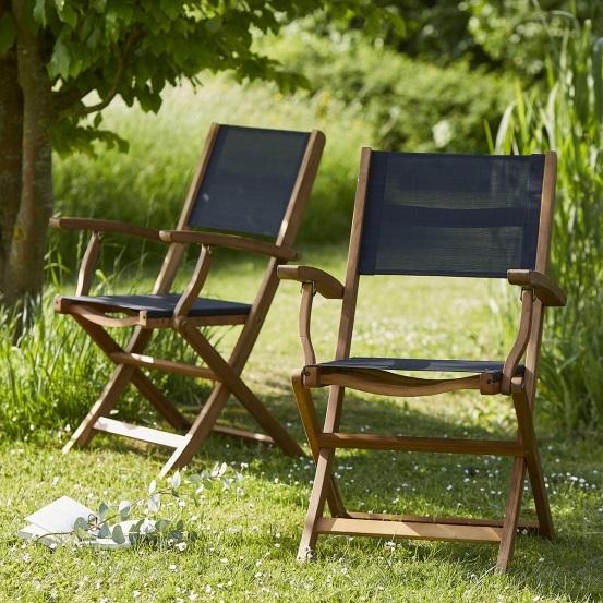 Salon de jardin carré 4 places HANOÏ en bois d\'acacia FSC noir ...