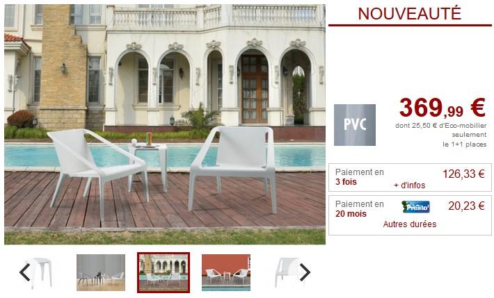Salon de jardin HIRO 2 Fauteuils et une table basse - Vente Unique