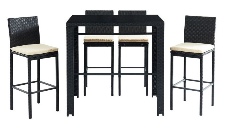 Salon de jardin JAVEA en résine tressée noire avec table de bar et 4 chaises