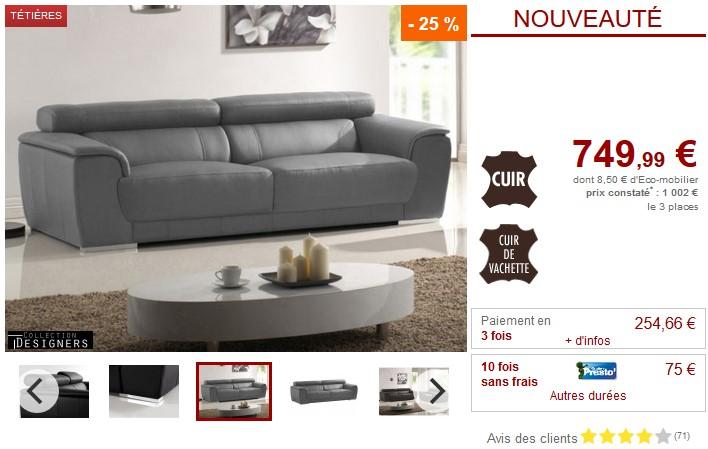 Canapé 3 ou 2 places KALINA II en cuir noir, gris, chocolat - Vente Unique