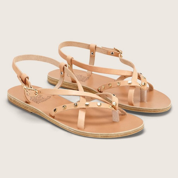 Ancient Greek Sandals Semele Nails Sandales cloutées en cuir rose