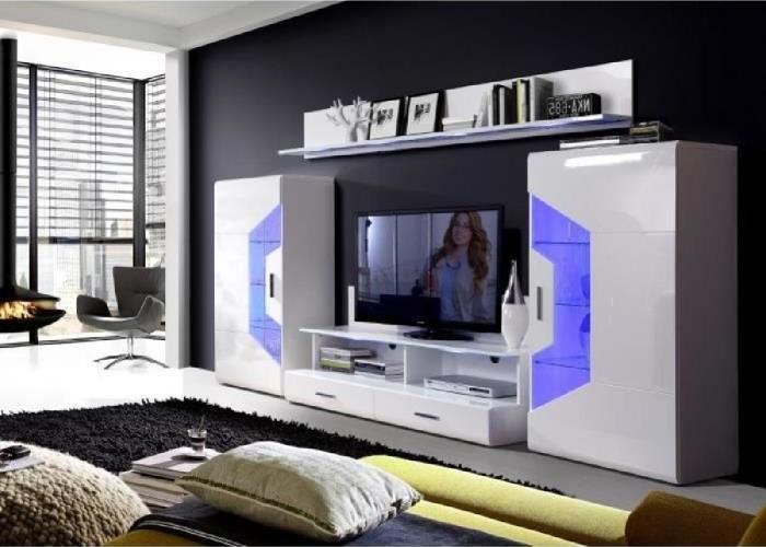 SAPHIR Meuble TV LED contemporain blanc brillant - Cdiscount