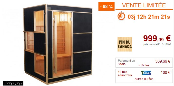 Vente Flash Sauna Traditionnel Finlandais 3/4 places LAHTI Prix 999.99 € Vente Unique