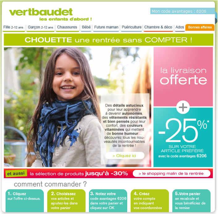 Vertbaudet  Le shopping malin de la rentrée -25%