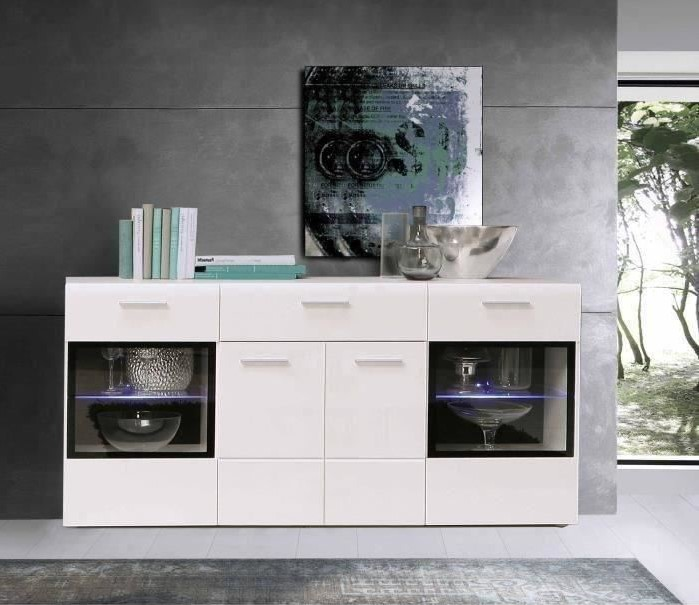 SLATE Buffet bas contemporain blanc brillant