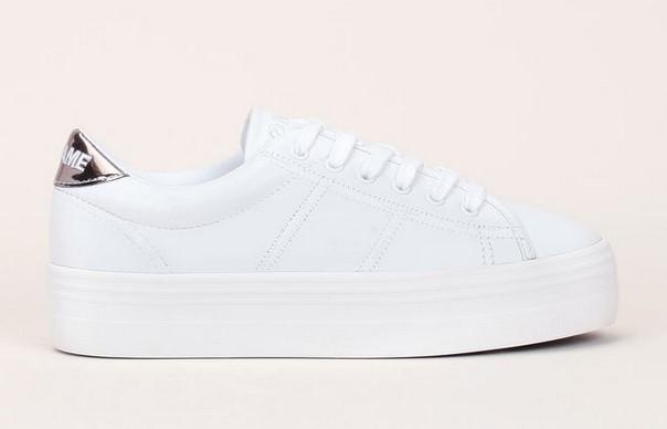 No Name Plato Sneakers à plateforme en cuir blanc et logo brodé sur talon miroir