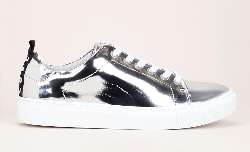 KG by Kurt Geiger Lava Sneakers argent effet miroir détails talons tissés noir