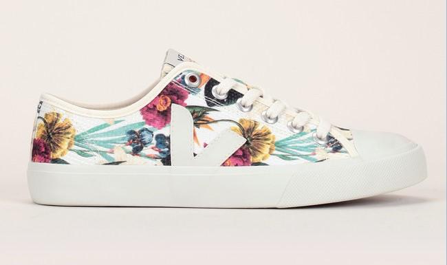 Sneakers beiges en toile fleurie Wata Veja - Baskets Femme Monshowroom