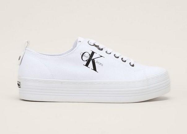 Calvin Klein Jeans Sneakers blanches semelles compensées à lacets - Baskets Femme Monshowroom