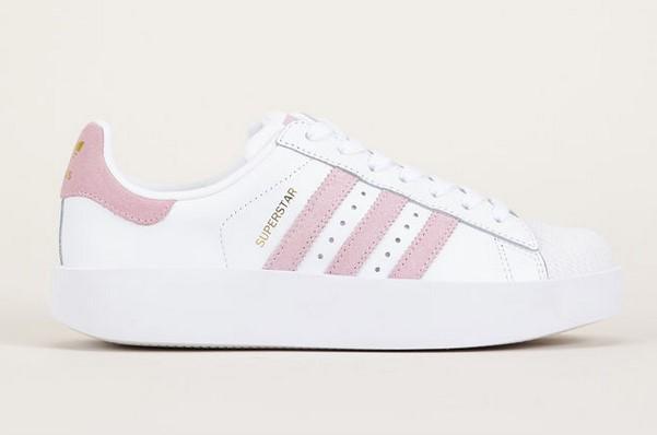 Adidas Originals Sneakers compensées rose et blanches pas
