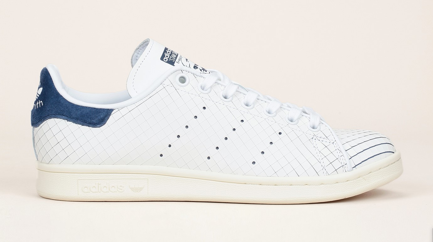 Sneakers cuir blanc texture damier Stan Smith Adidas Originals, Baskets Femme Monshowroom