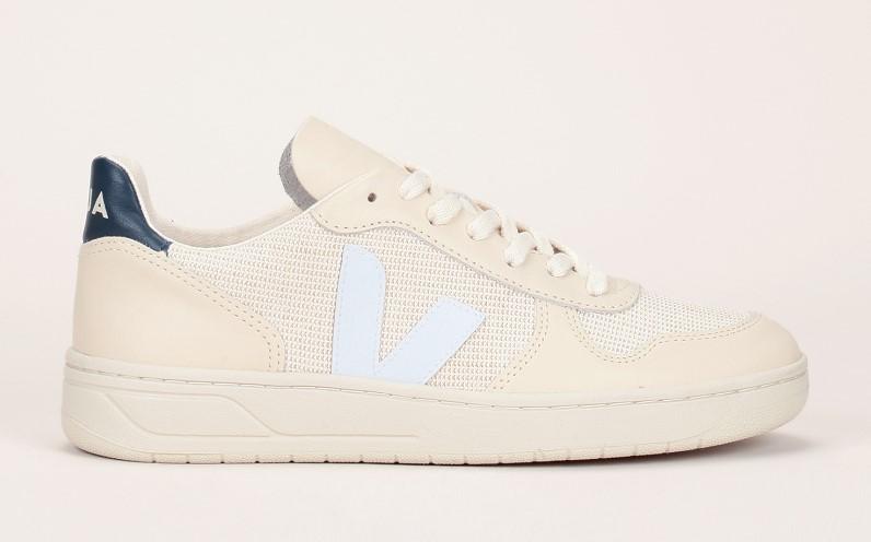 Veja Sneakers cuir/jute sable détails contrastés - Monshowroom