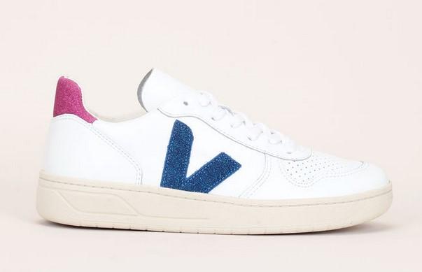 Veja Sneakers en cuir blanc détails pailletés bleu/rose - Monshowroom
