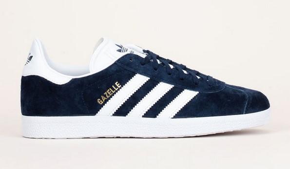 Sneakers en cuir nubuck marine talon/bandes blanc Gazelle Adidas Originals - Baskets Femme Monshowroom