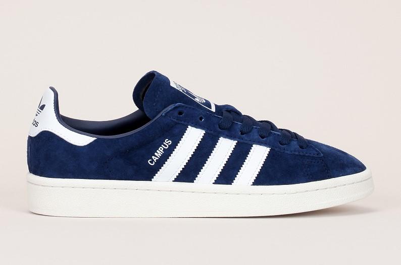Adidas Originals Campus Sneakers en cuir nubuck marine talon/bandes blanches