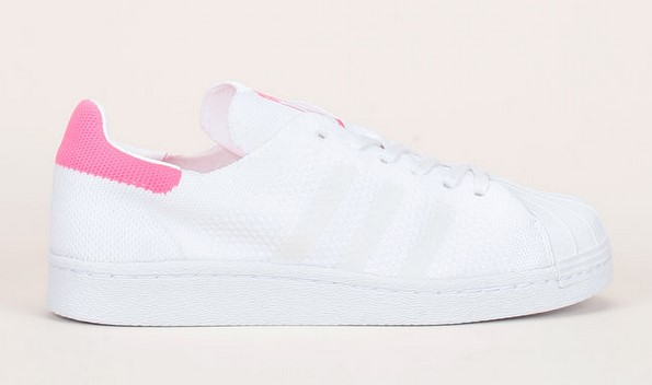 Adidas Originals Sneakers Superstar 80s en maille blanche détails rose fluo