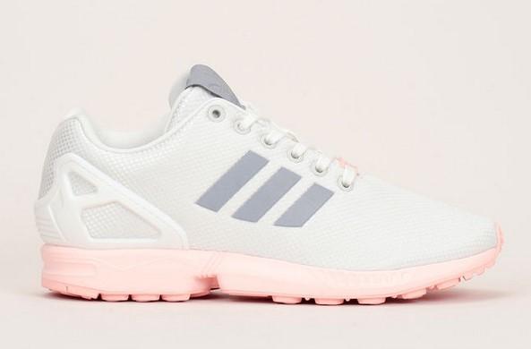Sneakers en mesh écru semelle rose contrastée ZX flux Adidas Originals - Baskets Femme Monshowroom